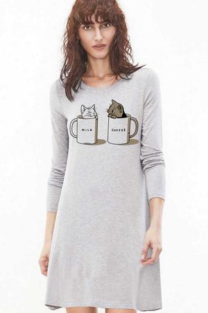 - Sütlü Sade Uzun Kollu Kadın | Bayan Kar Melanj Penye T-shirt Elbise