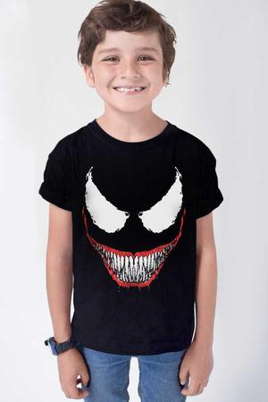 Timsah Dişler Kısa Kollu Siyah Çocuk T-shirt - Thumbnail