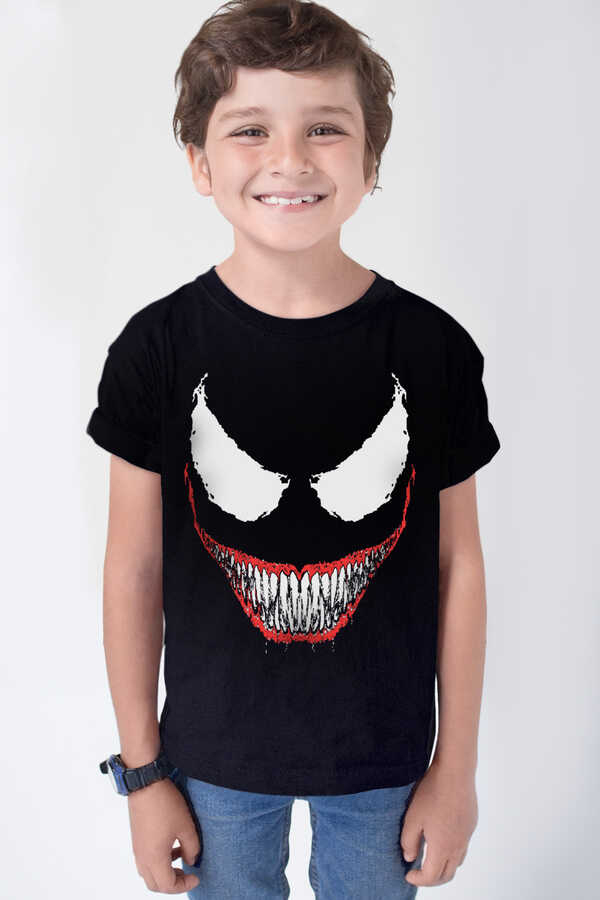 Timsah Dişler Kısa Kollu Siyah Çocuk T-shirt
