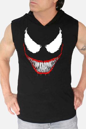 - Timsah Dişler Siyah Kapşonlu Kesik Kol   Kolsuz Erkek T-shirt   Atlet