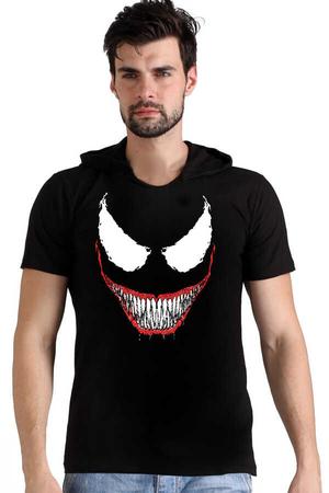 - Timsah Dişler Siyah Kapşonlu Kısa Kollu Erkek T-shirt