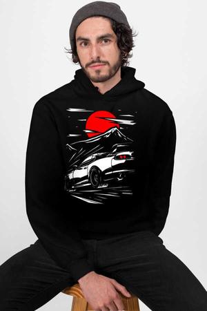 Rock & Roll - Tokyo Drift Siyah Kapşonlu Erkek Sweatshirt