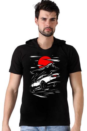 Rock & Roll - Tokyo Drift Siyah Kapşonlu Kısa Kollu Erkek T-shirt