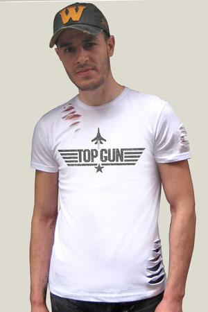 Rock & Roll - Top Gun Kısa Kollu Yırtık Beyaz T-shirt