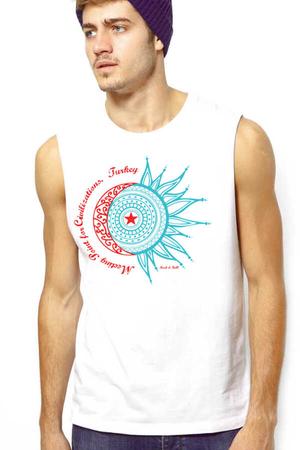 Rock & Roll - Türkiye Ay Yıldız Beyaz Kesik Kol | Kolsuz Erkek T-shirt | Atlet