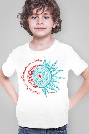Rock & Roll - Türkiye Ay Yıldız Beyaz Kısa Kollu Çocuk T-shirt