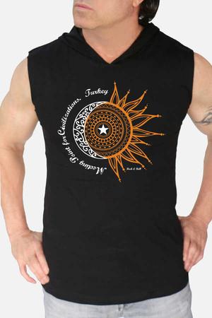 - Türkiye Ay Yıldız Siyah Kapşonlu Kesik Kol   Kolsuz Erkek T-shirt   Atlet
