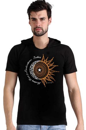 - Türkiye Ay Yıldız Siyah Kapşonlu Kısa Kollu Erkek T-shirt