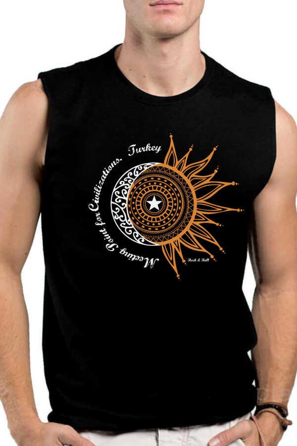 Türkiye Ay Yıldız Siyah Kesik Kol | Kolsuz Erkek T-shirt | Atlet