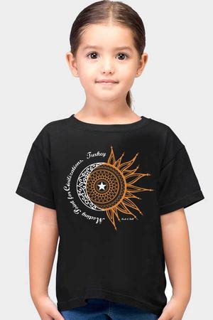 Rock & Roll - Türkiye Ay Yıldız Siyah Kısa Kollu Çocuk T-shirt