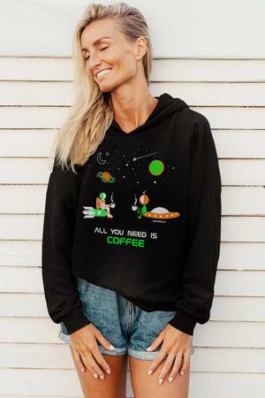 - Uzayda Kahve Siyah Kapüşonlu Kadın Sweatshirt