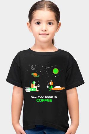 Rock & Roll - Uzayda Kahve Siyah Kısa Kollu Çocuk T-shirt