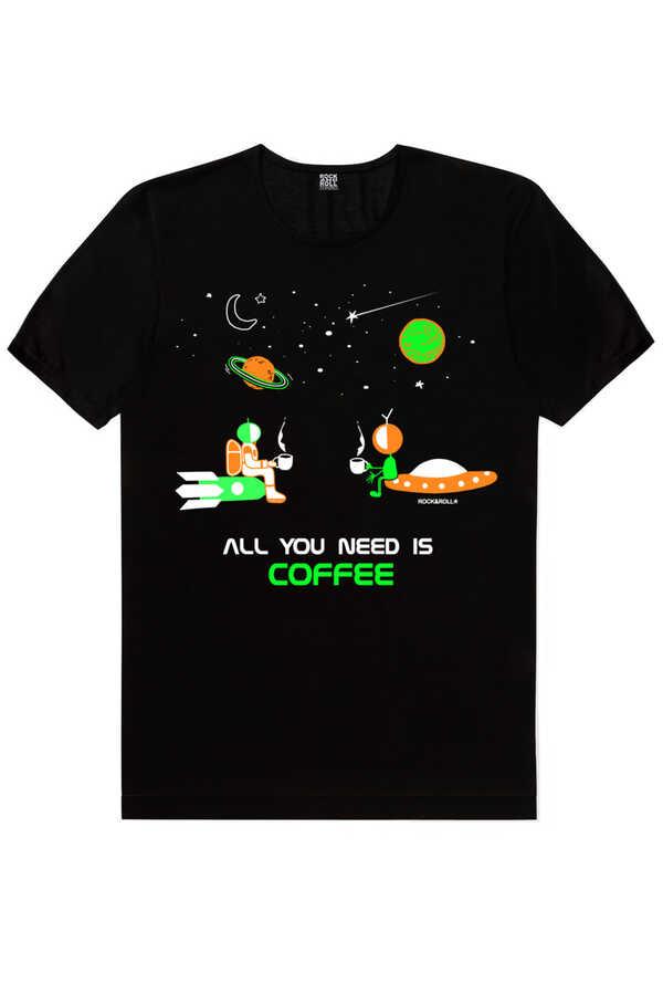 Uzayda Kahve Siyah Kısa Kollu Erkek T-shirt