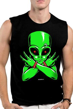 Rock & Roll - Uzaylı Rocker Siyah Kesik Kol   Kolsuz Erkek T-shirt   Atlet