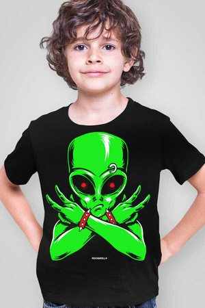 Rock & Roll - Uzaylı Rocker Siyah Kısa Kollu Çocuk T-shirt
