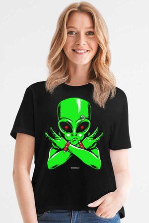 Rock & Roll - Uzaylı Rocker Siyah Kısa Kollu Kadın T-shirt