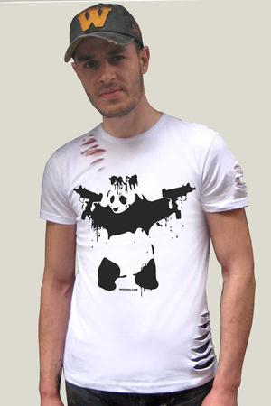 Rock & Roll - Uzi Tabancalı Panda Kısa Kollu Yırtık Beyaz T-shirt