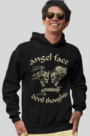 - Uzun Melek Şeytan Siyah Kapüşonlu Kalın Erkek Sweatshirt