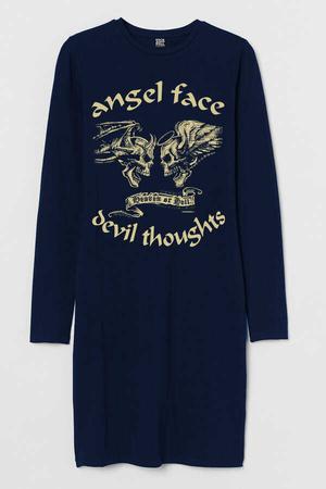 - Uzun Melek Şeytan Uzun Kollu Kadın | Bayan Lacivert Penye T-shirt Elbise
