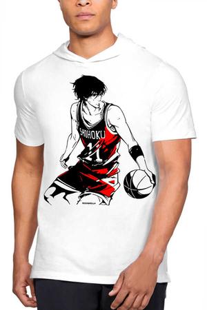 - Yakışıklı Basketci Beyaz Kapşonlu Kısa Kollu Erkek T-shirt