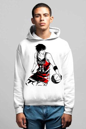 - Yakışıklı Basketci Beyaz Kapüşonlu Erkek Sweatshirt