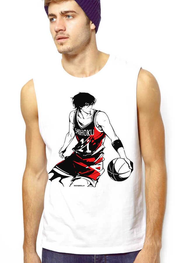 Yakışıklı Basketçi Beyaz Kesik Kol | Kolsuz Erkek T-shirt | Atlet