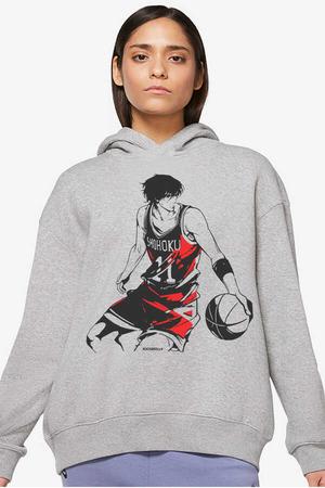- Yakışıklı Basketçi Gri Kapüşonlu Kalın Oversize Kadın Sweatshirt