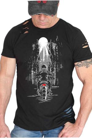 Rock & Roll - Yalnız Kovboy Kısa Kollu Yırtık Siyah T-shirt