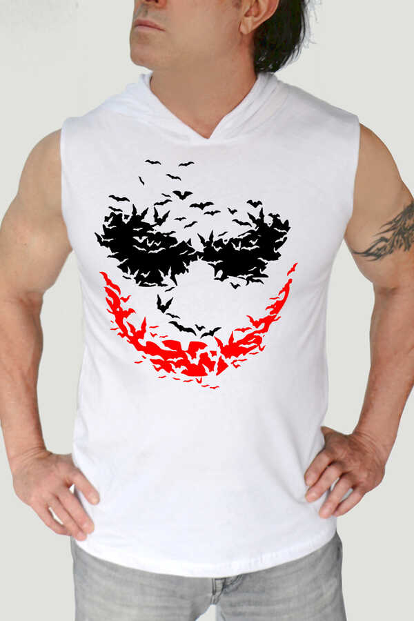 Yarasa Gülüşü Beyaz Kapşonlu Kesik Kol | Kolsuz Erkek T-shirt | Atlet