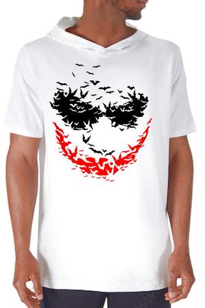 - Yarasa Gülüşü Beyaz Kapşonlu Kısa Kollu Erkek T-shirt