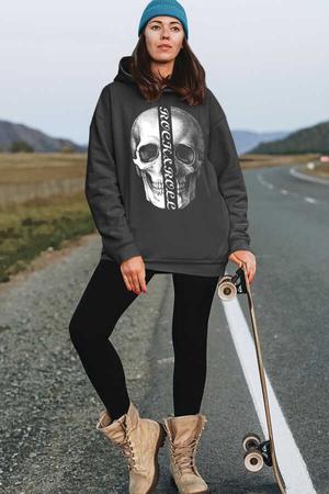 - Yarım Kurukafa Antrasit Kapüşonlu Kalın Oversize Kadın Sweatshirt
