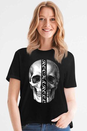 - Yarım Kurukafa Kısa Kollu Siyah Kadın T-shirt