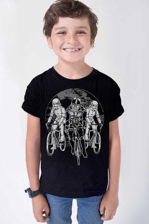 Rock & Roll - Yıldız Bisikletçileri Siyah Kısa Kollu Çocuk T-shirt