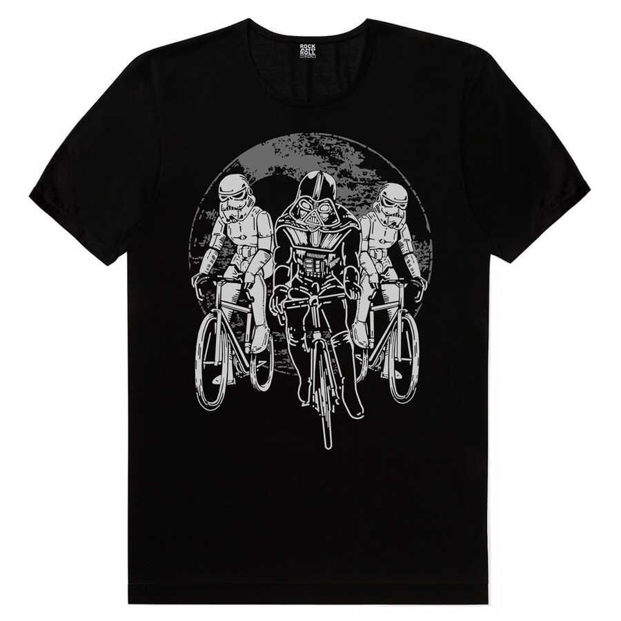 Yıldız Bisikletçileri Siyah Kısa Kollu Erkek T-shirt