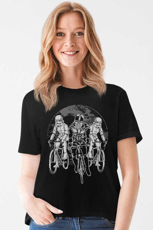 Rock & Roll - Yıldız Bisikletçileri Siyah Kısa Kollu Kadın T-shirt